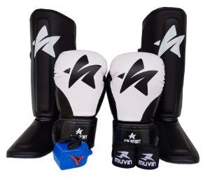 Kit de Muay Thai / Kickboxing 12oz - Preto - SulSport