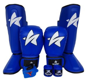 Kit de Muay Thai / Kickboxing 12oz - Azul - SulSport