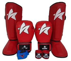 Kit de Muay Thai / Kickboxing 12oz - Vermelho - SulSport