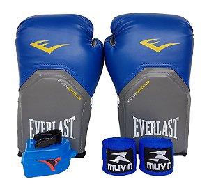 Kit de Boxe / Muay Thai 12oz Azul Pro Style Everlast