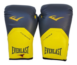 Luva de Boxe / Muay Thai 14oz Cinza com Amarelo Pro Style Everlast