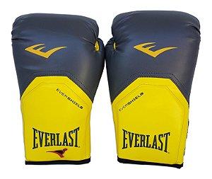 Luva de Boxe / Muay Thai 12oz Cinza com Amarelo Pro Style Everlast