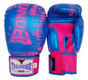 Luva de Boxe / Muay Thai 12oz Feminina - Azul / Rosa Riscado - Thunder Fight
