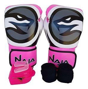 Kit Feminino De Boxe Muay Thai Luva 14oz Bandagem Bucal Rosa New Colors - Naja