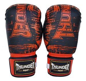 Luva de Boxe / Muay Thai 12oz  - Preto Riscado Laranja - Thunder Fight
