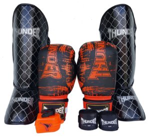 Kit de Muay Thai / Kickboxing 12oz - Preto Riscado Laranja - Thunder Fight