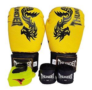 Kit de Boxe / Muay Thai 12oz - Dragão Amarelo - Thunder Fight