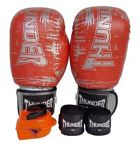 Kit de Boxe / Muay Thai 14oz - Laranja Riscado - Thunder Fight