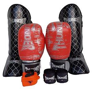 Kit de Muay Thai / Kickboxing 14oz - Laranja Riscado - Thunder Fight