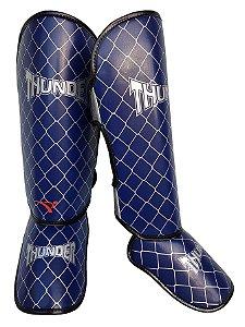 Caneleira Tradicional Muay Thai MMA Azul 20mm Thunder Fight