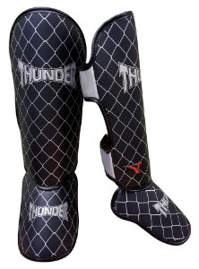 Caneleira Tradicional Muay Thai MMA Preta 20mm Thunder Fight