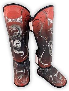Caneleira Muay Thai MMA Dragão Vermelha New  Grande 30mm Thunder Fight