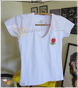 Camiseta Bordada Sleeping Snoopy