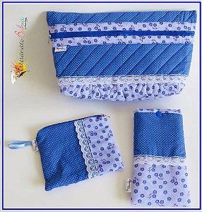 Kit de Nécessaires- Poá Azul