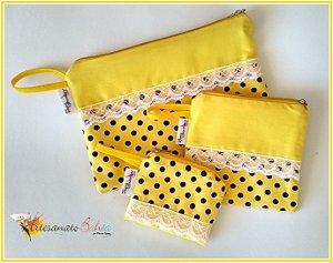 Kit de Nécessaires- Amarelo Poá