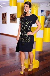 Vestido Corte a Laser Amarelo - 996 - Cassia Segetti