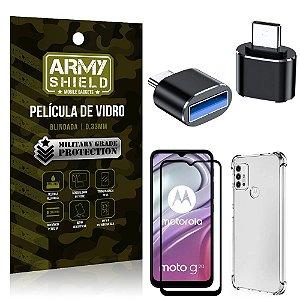 Kit Moto G20 Adaptador OTG Tipo C para USB + Capa Anti Impacto + Película 3D - Armyshield