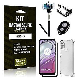 Kit Moto G20 Bastão de Selfie Bluetooth + Capinha Anti Impacto + Película Vidro 3D - Armyshield
