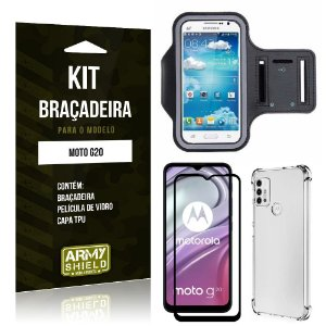 Kit Moto G20 Braçadeira + Capinha Anti Impacto + Película de Vidro 3D - Armyshield