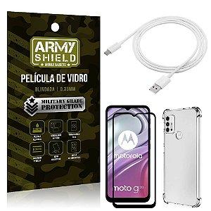 Kit Moto G20 Cabo USB Tipo C 2m + Capa Anti Impacto + Película Vidro 3D - Armyshield