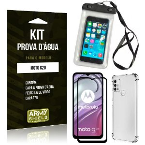 Kit Moto G20 Capinha Prova D'água + Capa Anti Impacto + Película 3D - Armyshield
