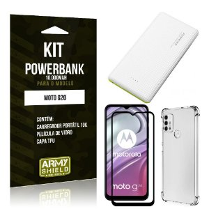 Kit Moto G20 Carregador Portátil 10K Tipo C + Capa Anti Impacto + Película Vidro 3D - Armyshield