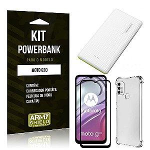Kit Moto G20 Carregador Portátil 5K Tipo C + Capa Anti Impacto + Película Vidro 3D - Armyshield