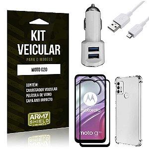 Kit Moto G20 Carregador Veicular Tipo C + Capa Anti Impacto + Película Vidro 3D - Armyshield