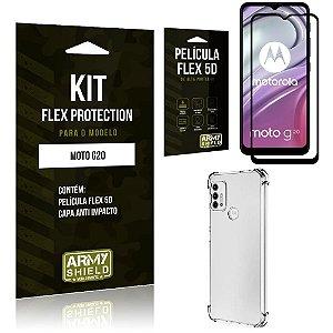 Kit Moto G20 Flex Protection com Película Flex + Capa Anti Impacto - Armyshield