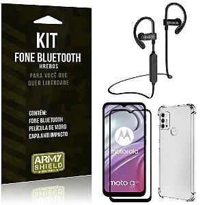 Kit Moto G20 Fone Bluetooth HS188 + Película 3D + Capa Anti Impacto - Armyshield