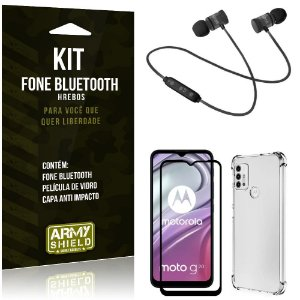 Kit Moto G20 Fone Bluetooth KD901 + Capa Anti Impacto + Película Vidro 3D - Armyshield
