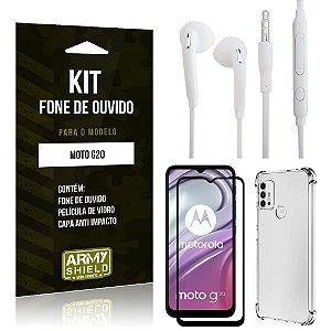 Kit Moto G20 Fone de Ouvido + Capa Anti Impacto + Película Vidro 3D - Armyshield