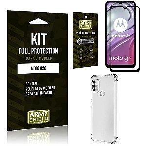 Kit Moto G20 Full Protection com Película de Vidro 3D + Capa Anti Impacto - Armyshield
