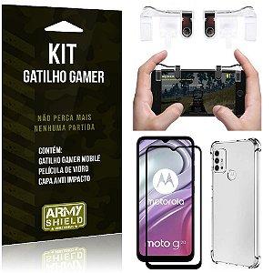 Kit Moto G20 Gatilho Gamer + Capa Anti Impacto + Película Vidro 3D - Armyshield