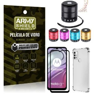 Kit Moto G20 Mini Som Bluetooth + Capa Anti Impacto + Película Vidro 3D - Armyshield