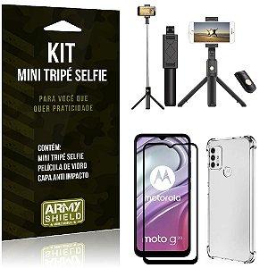Kit Moto G20 Mini Tripé Selfie Bluetooth para + Capa Anti Impacto + Película 3D - Armyshield