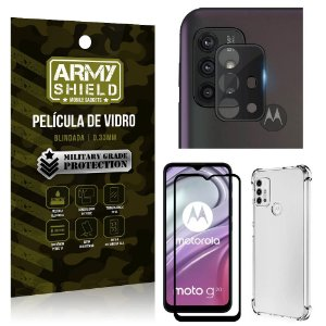 Kit Moto G20 Película de Câmera + Película 3D + Capa Anti Impacto - Armyshield