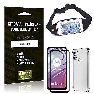 Kit Moto G20 Pochete + Capinha Anti Impacto + Película de Vidro 3D - Armyshield
