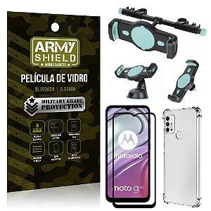 Kit Moto G20 Suporte Veicular 3 em 1 + Película 3D + Capa Anti Impacto - Armyshield