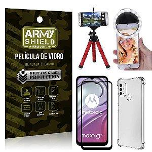 Kit Moto G20 Tripé Flex + Flash Ring + Capa Anti Impacto + Película 3D - Armyshield