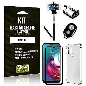 Kit Moto G30 Bastão de Selfie Bluetooth + Capinha Anti Impacto + Película Vidro 3D - Armyshield