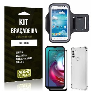 Kit Moto G30 Braçadeira + Capinha Anti Impacto + Película de Vidro 3D - Armyshield