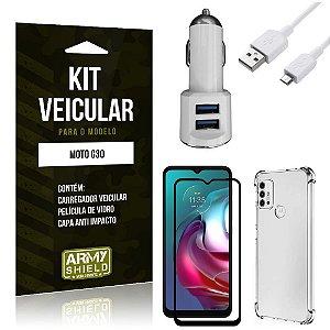 Kit Moto G30 Carregador Veicular Tipo C + Capa Anti Impacto + Película Vidro 3D - Armyshield