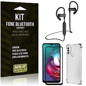 Kit Moto G30 Fone Bluetooth HS188 + Película 3D + Capa Anti Impacto - Armyshield