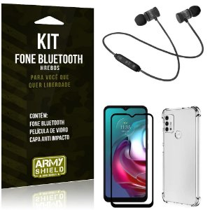 Kit Moto G30 Fone Bluetooth KD901 + Capa Anti Impacto + Película Vidro 3D - Armyshield