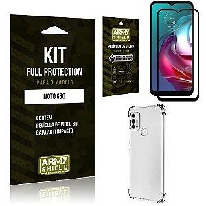 Kit Moto G30 Full Protection com Película de Vidro 3D + Capa Anti Impacto - Armyshield