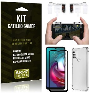 Kit Moto G30 Gatilho Gamer + Capa Anti Impacto + Película Vidro 3D - Armyshield