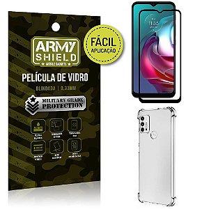 Kit Moto G30 Película 3D Fácil Aplicação + Capa Anti Impacto - Armyshield