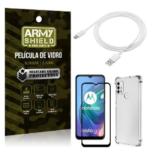 Kit Moto G10 Cabo USB Tipo C 2m + Capa Anti Impacto + Película Vidro 3D - Armyshield
