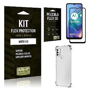 Kit Moto G10 Flex Protection com Película Flex + Capa Anti Impacto - Armyshield